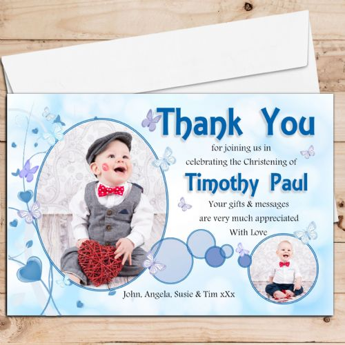 10 Personalised Boys Butterfly Christening / Baptism Thank you PHOTO Cards N220